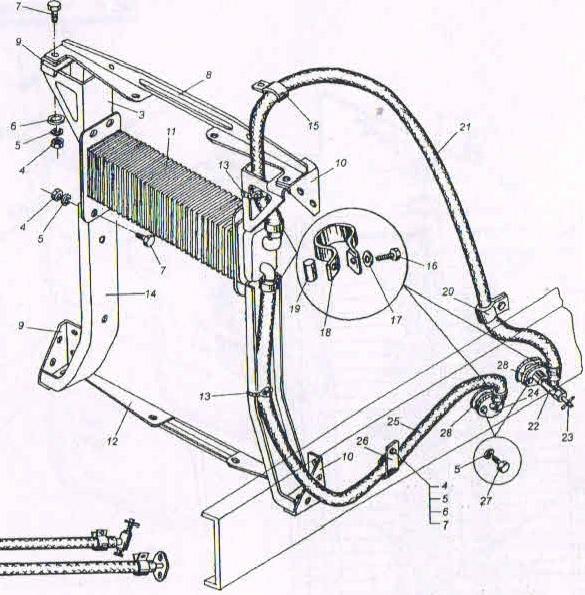 Крепления и масляный радиатор МАЗ 5551, 53371, 5337