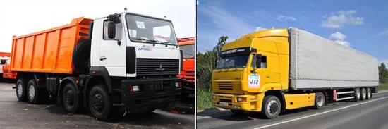 грузовики маз и камаз