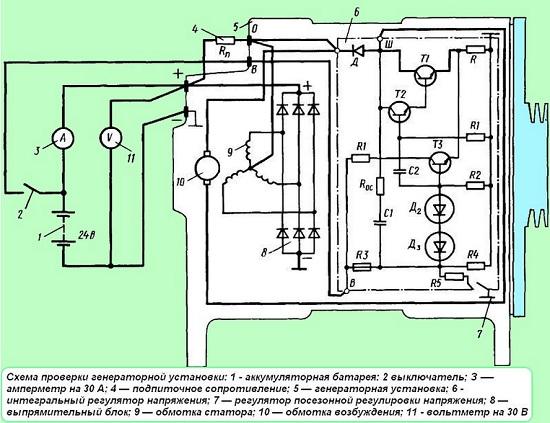 схема проверки генератора МАЗ